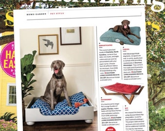Wooden Dog Bed || As seen in Southern Living Magazine || Designer Custom Wood Bed || Medium Large || Hand Made in NC  by Three Spoiled Dogs