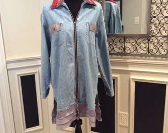 Upcycled refashioned jean jacket M/L