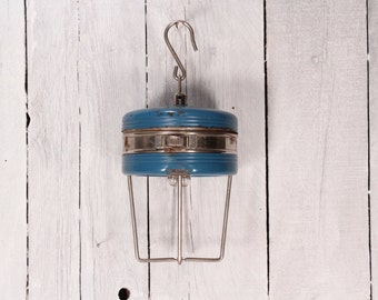 Vintage Camping Flashlight, Flashlight Camp Lights, Chrome Blue Lights, Blue Flashlight, Blue Metal Triplite, Art Deco style Flashlight