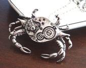 Steampunk Gear Crab Necklace