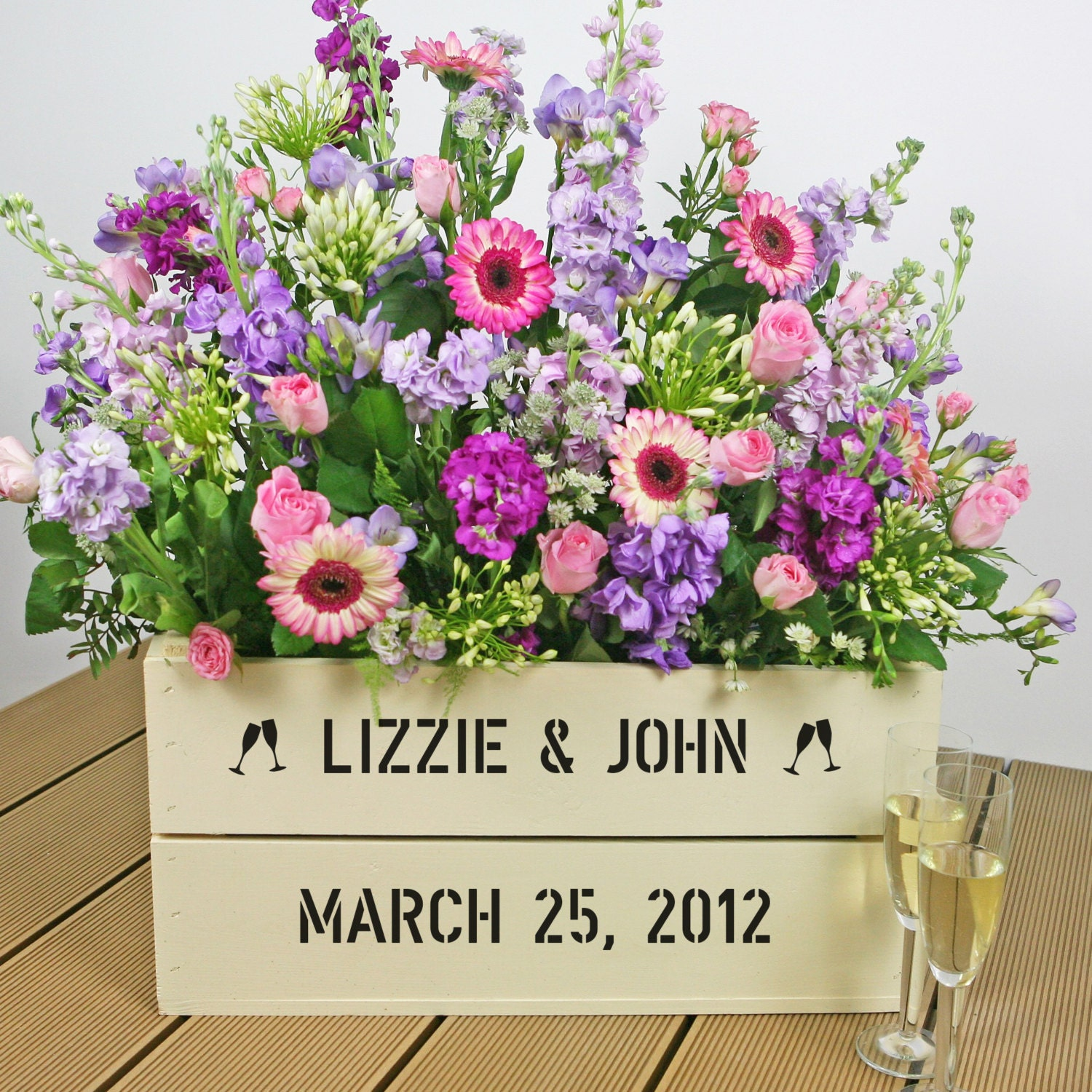 Personalized Wedding Gift Basket Crate by PersonalizedCrates