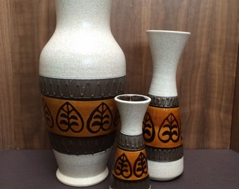 Set of 3 Matching Mid Century West Germany Pottery Vases Vintage Fat Lava