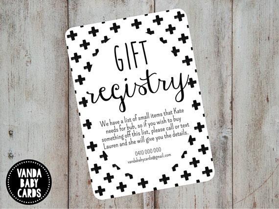 Wedding Registry Invitation: Gift Registry Card Swiss Cross Invite Invitation Insert