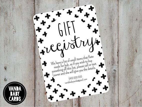 Gift Card Wedding Shower: Gift Registry Card Swiss Cross Invite Invitation Insert
