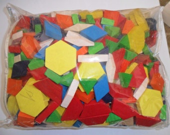 Large Bag of Brightly Colored Wood Shapes for Play