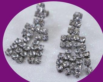 Rhinestone Vintage Earrings  Rhinestone Earrings Screw On Earrings  Vintage Jewelry Vintage Earrings