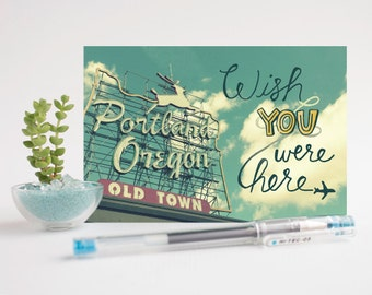 Wish You Were Here / Portland, Oregon Neon Sign - Set of 3 Postcards
