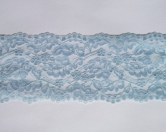 Vintage wide,light baby blue shimmery floral lace trim- by the yard