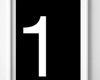 Digital poster, number print, printable art, number wall art, number poster, affiche noir et blanc, number 1 printable, Scandinavian print