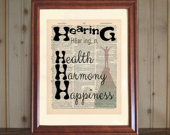 Hearing Dictionary Print, Audiology Office Decor, Audiologist Gift, Hearing & Audiology Quote, Hearing Print on 5x7 or 8x10 Canvas Panel