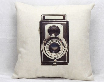 Vintage video camera cushion cover, pillow cover