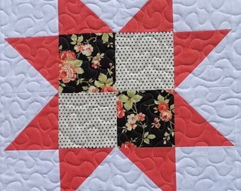 "Quilted table topper square table runner centerpiece small quilt doll quilt 23"" square.  Moda fabrics"