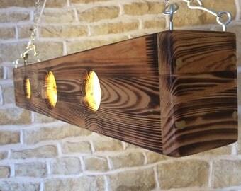 Large Ceiling Light Pendant Bar Light Table Light Chandelier Wooden Light Burnt Wood Unusual Man Cave Home Bar