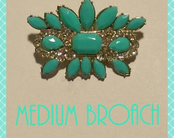 Medium Broach in Mint and Gold Tone