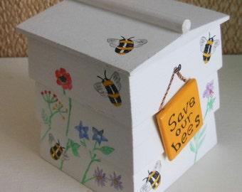 bee hive decorative  wooden trinket box