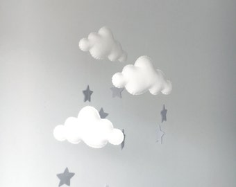 White Cloud mobile with Light Grey Stars