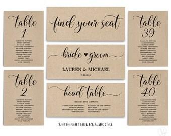 Rustic Wedding Seating Chart Template, Header Signs and Table Signs 1-40, Printable Wedding Table Seating Chart, SC008