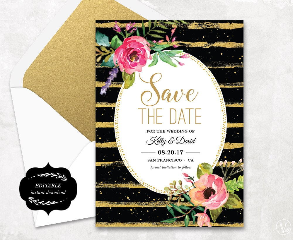 save the date template floral save the date card cheap save. Black Bedroom Furniture Sets. Home Design Ideas