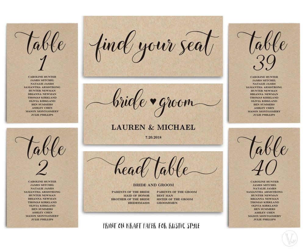 rustic wedding seating chart template header signs and table. Black Bedroom Furniture Sets. Home Design Ideas