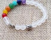 CHAKRA Bracelet Clear Matte Crystal Chakra Bracelet Buddha Meditation Lucky Elephant Gemstones Positive Energy Beaded Mala