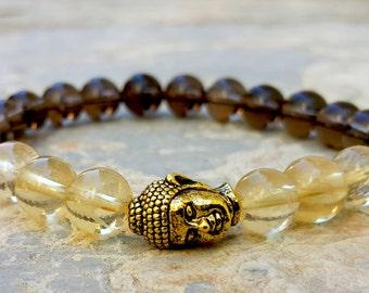 Tibetan Antique Gold Buddha Bracelet Buddhist Bracelet Mens Womens Positive Energy Healing Stones Smoky Quartz & Citrine Everyday Bracelet