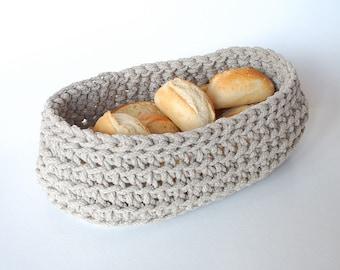 Bread Basket Crochet Linen rope - Bread Bowl Natural linen flax gray