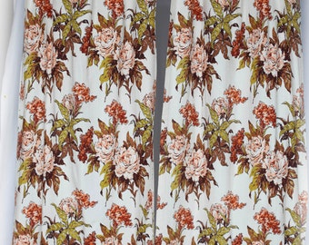 Barkcloth curtains off-white with rust orange, pink, green sketchy interpretive flowers