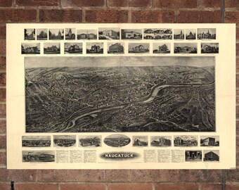 Naugatuck Connecticut Vintage Print Poster Map 1906 Poster of CT Map Art Wall Decor