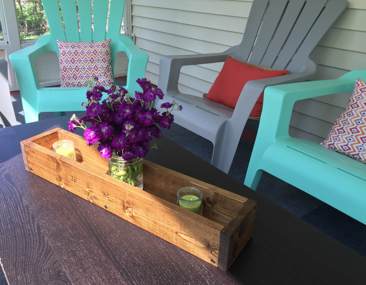 Wood table centerpiece by blackironworks on etsy