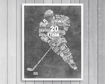Personalized HOCKEY Word Art - Add Player's Name Number & Team Name Hockey Gift or Hockey Coach's Gift Printable or Printed and Shipped!