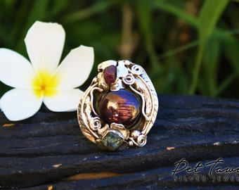 Ring with Starruby, nature Ruby and nature, blue Saphire