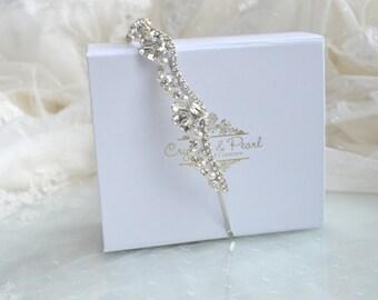 Opal Hairband - Crystal Vintage Wedding Bride Headband Hair Side Tiara Hairband Great Gatsby Vintage Glam Rhinestone Pearls Bridesmaid