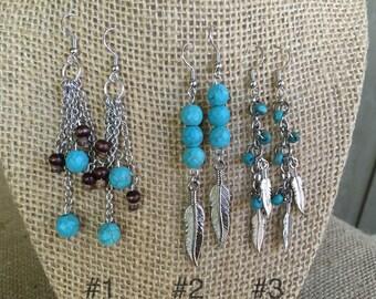 Turquoise/  feather earrings/ dangle earrings/ turquoise earrings/ boho earrings/ bohemian earrings/ boho jewelry/ dangle earrings/ mothers