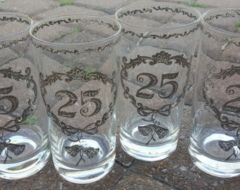 25th Anniversary Glasses Silver Culver LTD Vintage 1970s Set of 4