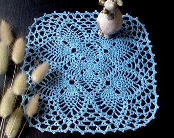 Blue crochet doily Hand crochet doilies Table decoration Square  doily Crochet tablecloth Housewarming gift
