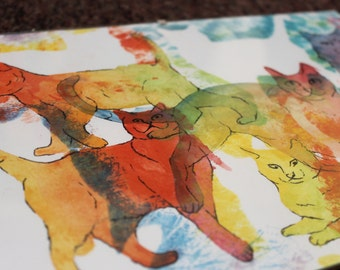 Original Rainbow Crazy Cats Sihouettes, Water Colour & Ink