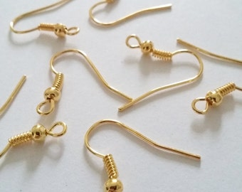 100pcs Ear Wire Hooks Gold Plated Fish Hook Earring Findings - B00971