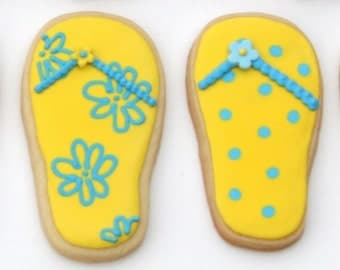 Flip Flops Decorated Sugar Cookies