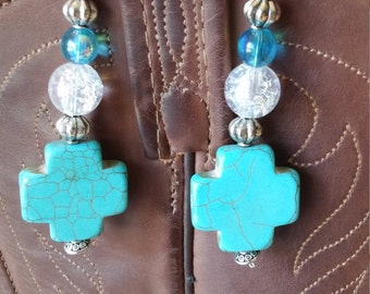 Turquoise style cross earrings with wire