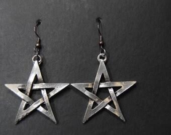 Pentacle Pewter Dangle Earrings (PAIR)