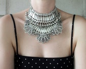 Statement Necklace - Handcrafted: Easton. Silver crystal layered stacked rhinestone ethnic bohemian necklace