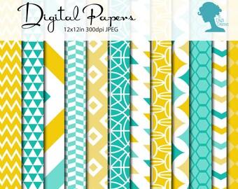 Teal & Yellow Patterns Digital Scrapbooking Paper Pack, Buy 2 Get 1 FREE. Instant Download