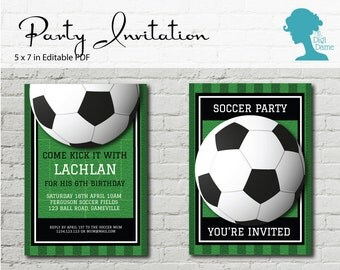 Digital Party Printable: Editable Party Invitation 5x7in Football Soccer Party INSTANT DOWNLOAD