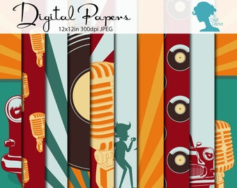 Fifties Digital Scrapbooking Paper Pack, Buy 2 Get 1 FREE. Instant Download