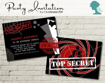 Digital Party Printable: Editable Party Invitation 5x7in Secret Agent/Spy in Red, Black & White INSTANT DOWNLOAD