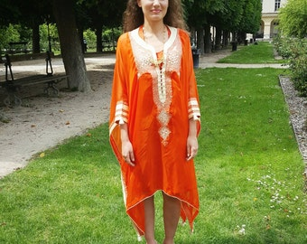 Caftan jebba orange silk handmade