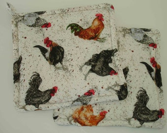 Roosters Potholder Set - Rooster Hot Pads - Rooster Kitchen Decor - Rooster Trivet