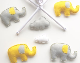 Elephant & Clouds Musical Cot Mobile, Baby Mobile, Cloud Nursery Mobile, Elephant  Nursery, Nursery Decor, Musical Cot Mobile, Grey Nursery