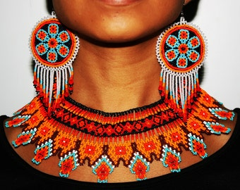 Huichol Jewelry Sets, Native American Jewelry, Seed Bead Necklace and Earrings, Statement Jewelry, Huichol Necklace Earrings, Tribal Jewelry