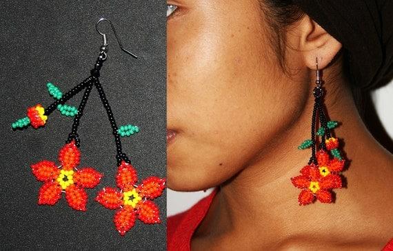 Huichol Earrings, Native American Style Beaded Earrings, Dangling Flower Earrings, Cute Red Flower Earrings, Seed Bead Earrings, Fun Jewelry